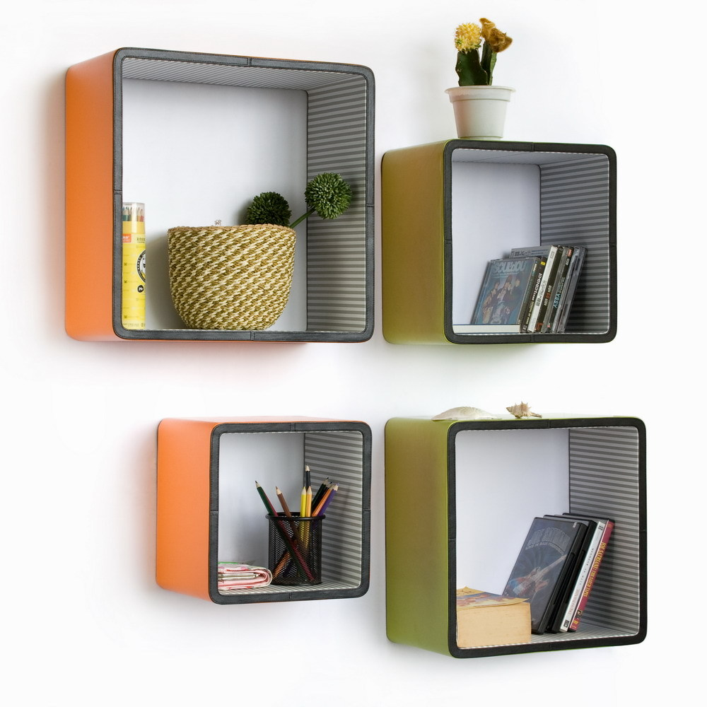[Vibrant Spring] Square Leather Wall Shelf (Set of 4)