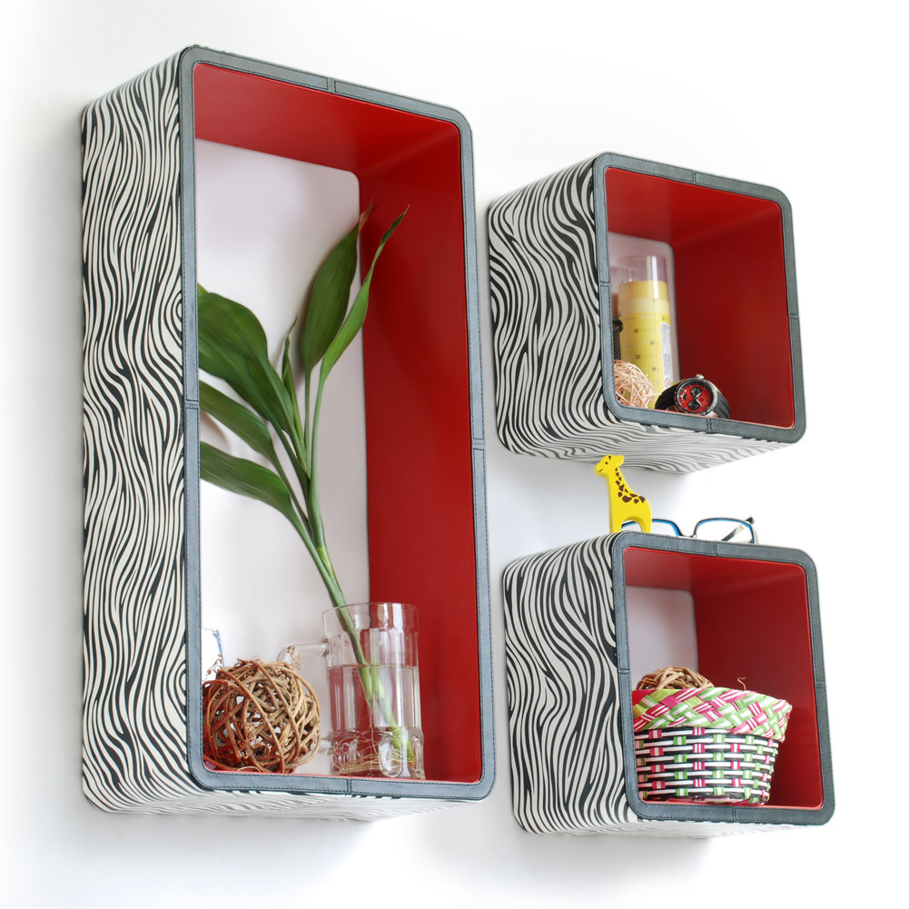 [Classic Zebra Stripe] Rectangle Leather Wall Shelf(Set of 3)