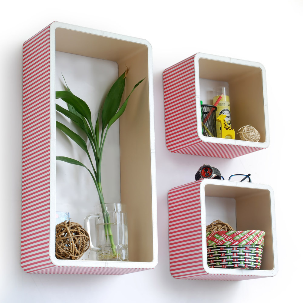 [Peach & White Stripe] Rectangle Leather Wall Shelf(Set of 3)