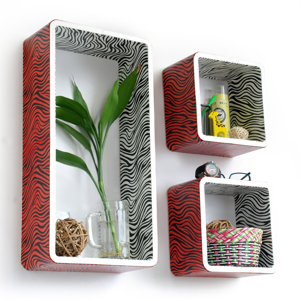 [Vivid Zebra Stripe] Rectangle Leather Wall Shelf(Set of 3)
