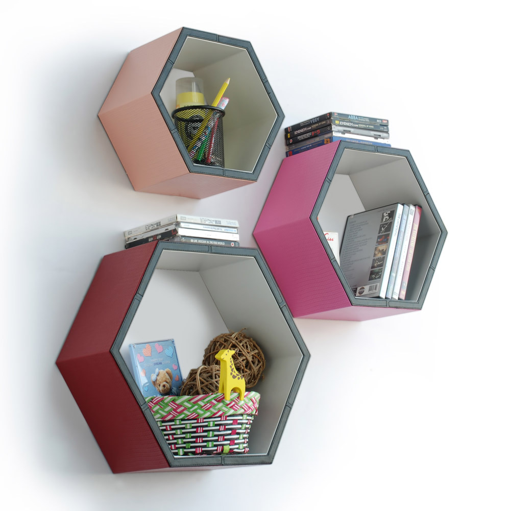[Gorgeous Color] Hexagon Leather Wall Shelf(Set of 3)