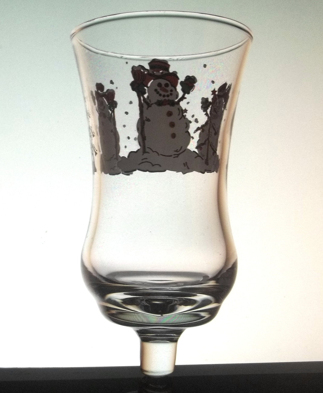 Home Interiors Peg Votive Holder Cup Glass Snowman Clear
