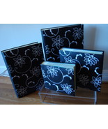 Black &amp; White Floral Embroidered Leather Photo Albums (4)