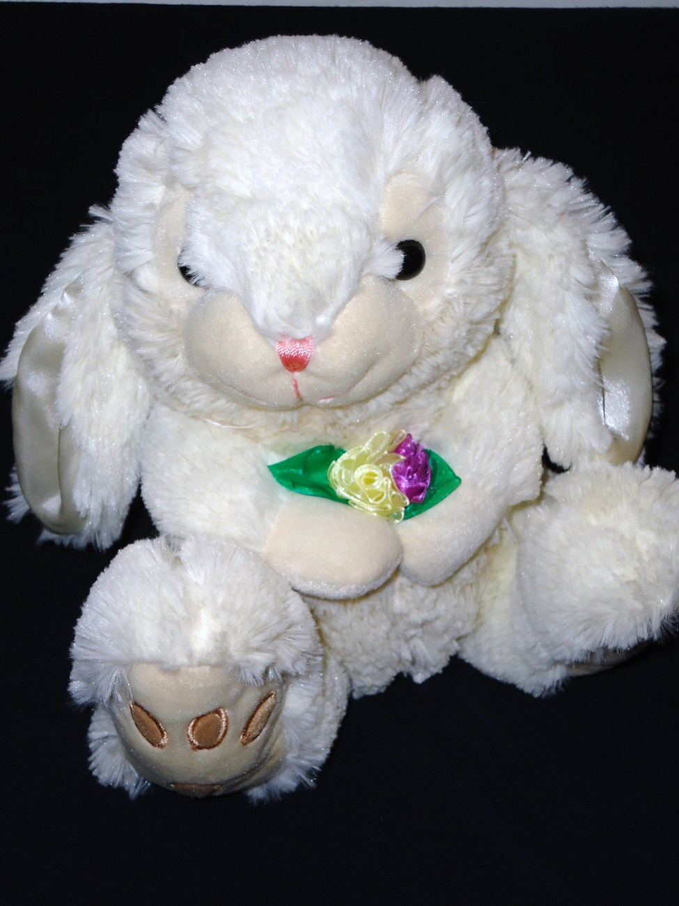 Goffa Easter Bunny Rabbit Holding Flowers Plush Stuffed Animal Big Feet White