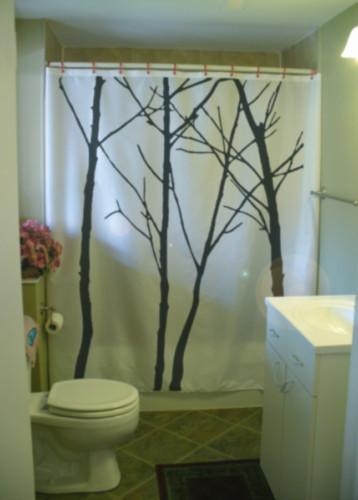 Shower Curtain winter tree scape silhouette branch twig