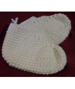 Crocheted Slippers white S 5 6 inch small new - $5.00