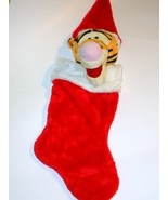 Disney Tigger Christmas Stocking Plush Head Santa Hat Winnie the Pooh