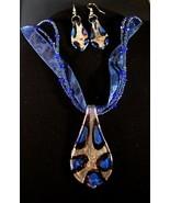Silver Royal Blue Spoon Choker & Earring Set - $10.95