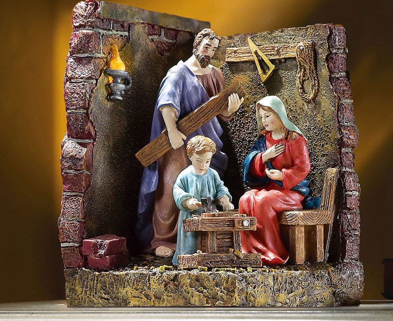 Image 0 of The Carpenters Son Lighted Holy Family Sculpture