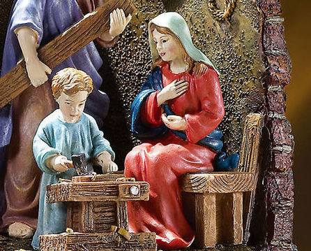 Image 3 of The Carpenters Son Lighted Holy Family Sculpture
