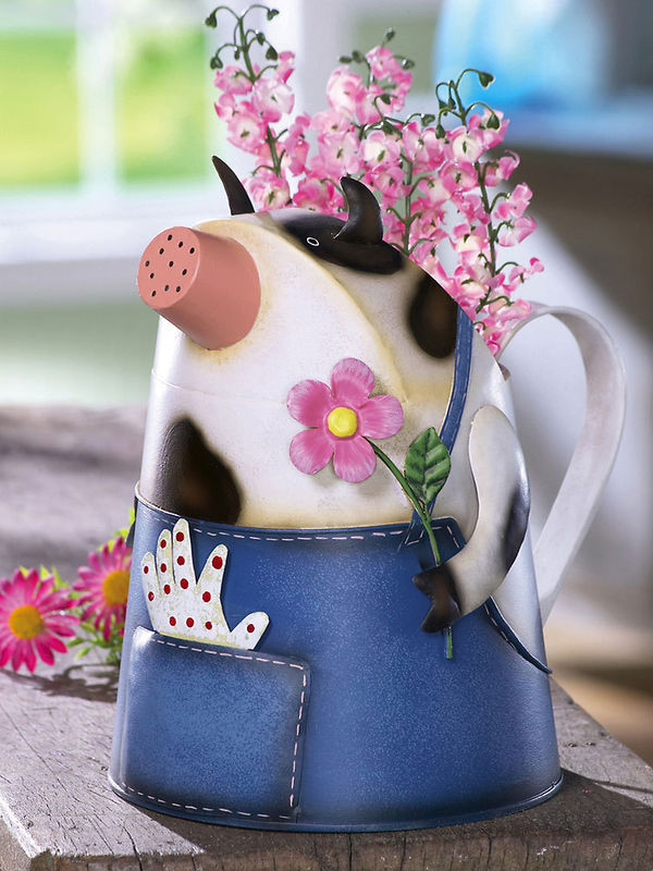 Image 1 of Country Cow In Overalls Metal Watering Can