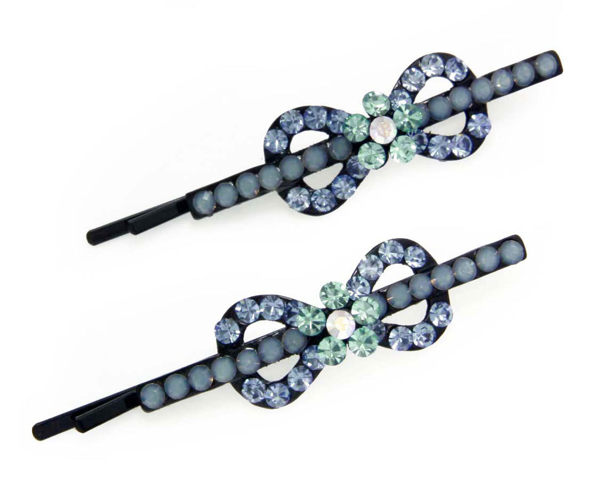 Multi Sapphire Shade Twisted Ribbon Bobby Pins (clip119a)