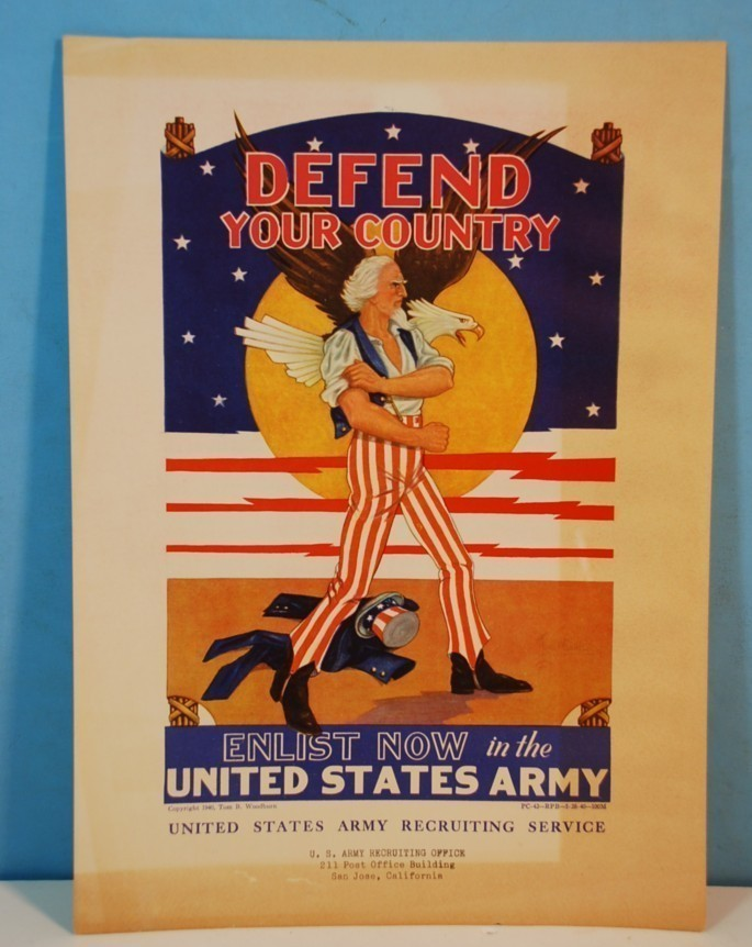 VINTAGE 1940 DEFEND YOUR COUNTRY ENLIST NOW UNITED STATES ARMY RECRUITING POSTER