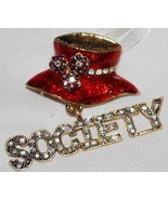 Red Hat Brooch with Crystal Society Charm - $8.95