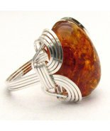 New Wire Wrap Amber Silver Ring Free Shipping - $72.00