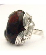 New Wire Wrap Poppy Jasper Stone Silver Ring Fr... - $64.00