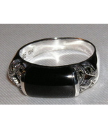 Black Onyx, Marcasite and Sterling Silver ring ... - $22.00