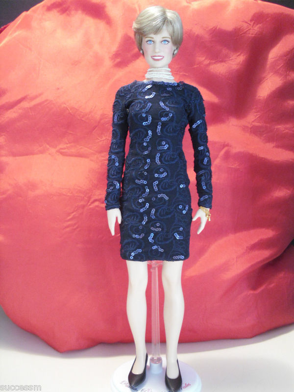 Franklin Mint Princess Diana Doll Blue Lace Dress Limited Edition Rare With COA