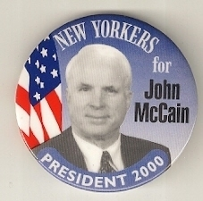 New Yorkers for John McCain Campaign Button 2000