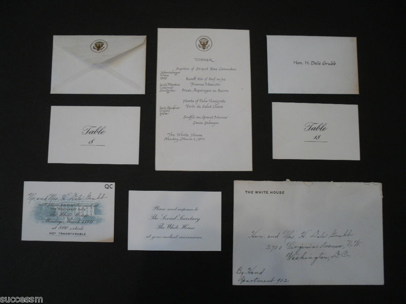 White House Dinner Invite With Richard Nixon and Staff