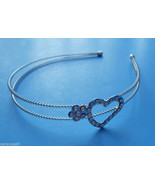 SIlver Plated Metal Headband with Crystal Heart... - $11.99