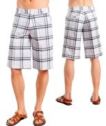 Men's Grey/Gray and White Plaid Shorts Size 32 - $24.99