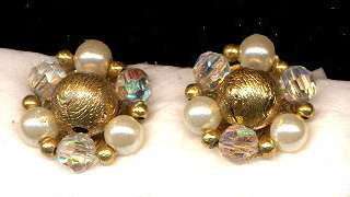Vintage Lisner Crystal & Bead Earrings