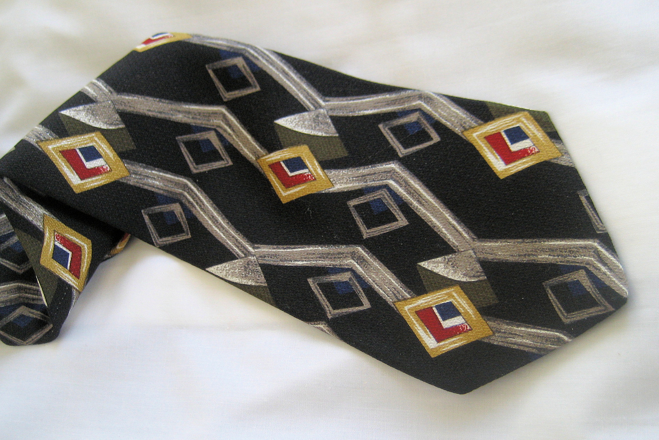 Fashion Mens Silk NeckTieVintage Gray Black Surrey