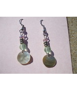 Mother of pearl lavender and aqua earrings - $7.99