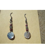 Mother of pearl and mauve glass bead earrings 58 - $7.99