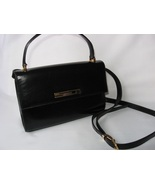 ST JOHN KNITS Handbag Purse Bag Black Leather Italy Authentic