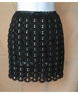 S XS Upcycled Pop Top Crocheted Mini Skirt Blac... - $19.99