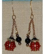 Handcrafted Enamel Ladybug and Onyx Dangling Ea... - $18.00