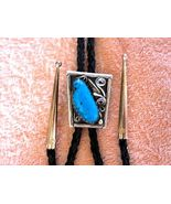 SLEEK VINTAGE STYLE TURQUOISE BOLO TIE, W STERL... - $96.33