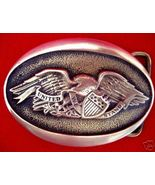VINTAGE BRASS EAGLE UNITED WE STAND OVAL BUCKLE - $50.49