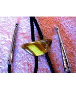 WONDERFUL TIGER EYE BOLO, LEATHER TIE W SILERTO... - $45.66