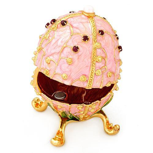 Music Trinket Jewelry Box Gemstones Pink Egg Shape
