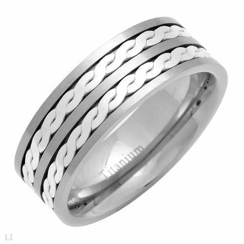 Titanium Mens Designed Band Ring ** Size 12