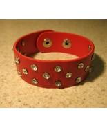 BRACELET MEN WOMEN WIDE LEATHER PUNK RED RHINES... - $12.99