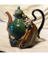 Teapot Asian Papa San Green Brown White Orange ... - $40.00