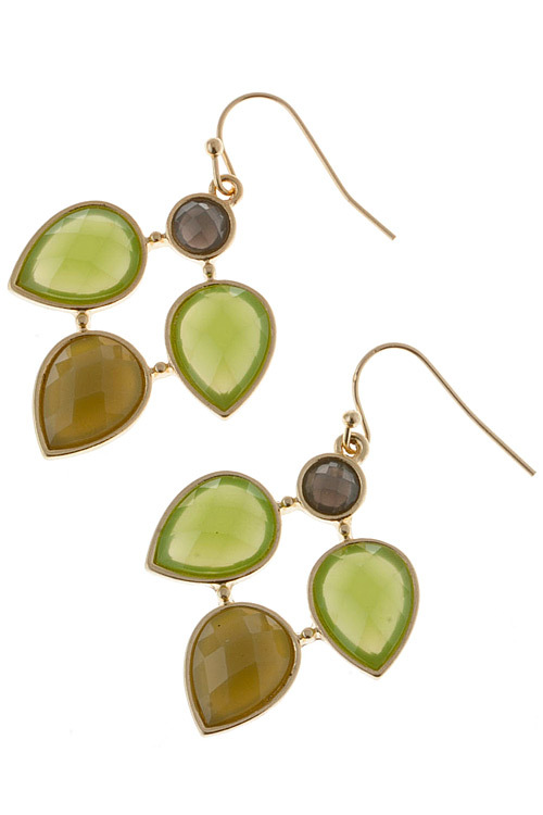 Beautiful Green / Brown Jeweled Dangle Link Earrings