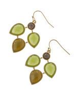 Beautiful Green / Brown Jeweled Dangle Link Ear... - $16.00