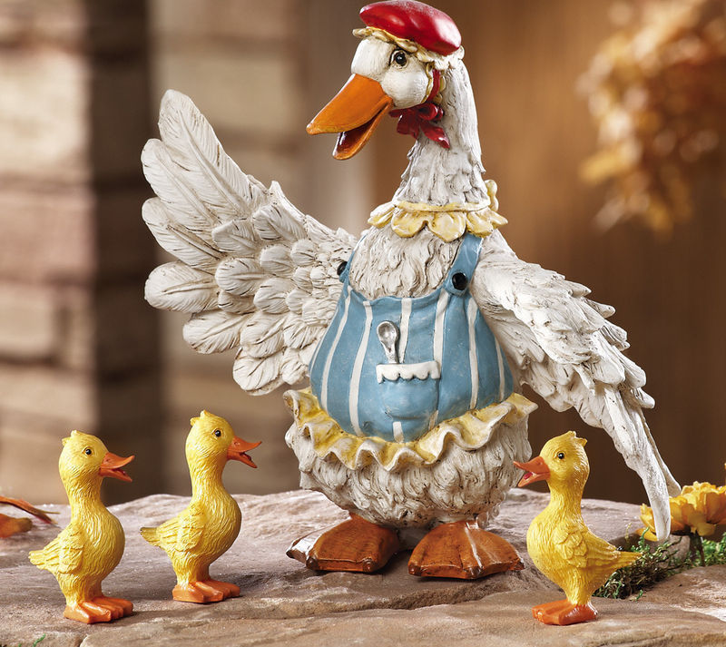 4 Pc. Duck Family Garden Figurines New
