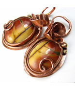 Ladybug and the Rose - Copper and Jasper earrings - $86.00