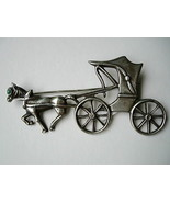 1930's Mexico Silver Horse and Carriage Pin Brooch - $45.00