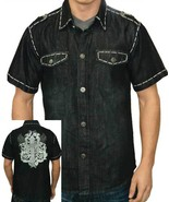 Men's Button Down Black Denim Shirt - $32.99