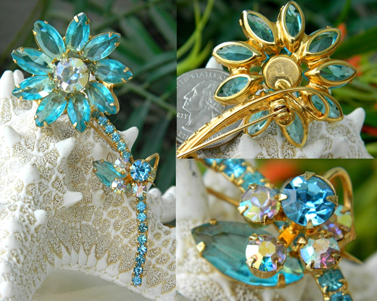 Vintage_juliana_flower_brooch_aqua_rhinestones