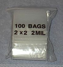 100 Specialty Zip Lock Resealable Bags 2 x 2