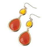 Gorgeous Red / Orange Jeweled Gold Tone Dangle ... - $18.00