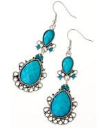Beautiful Turquoise Filigree Jewel Dangle Earrings - $10.00